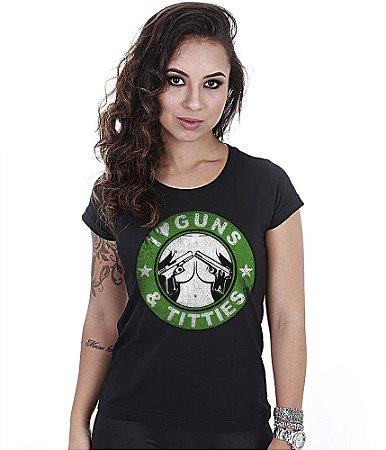 Camiseta Militar Baby Look Feminina I Love Guns And Titties
