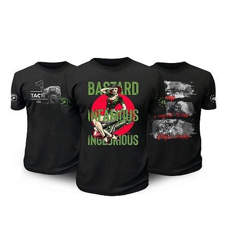 Kit 3 Camisetas Militares Tactical Fritz Bastard Temple Team Six