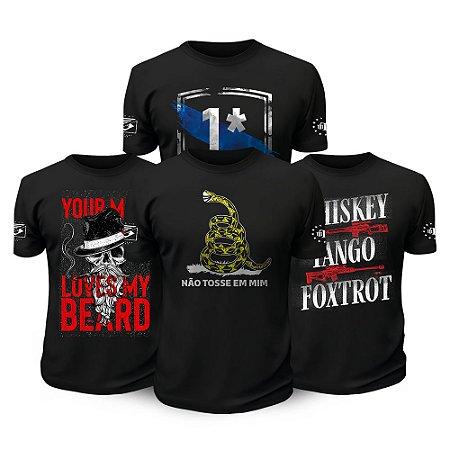 Kit 4 Camisetas Militares Beard Risk Tactical Fritz Team Six