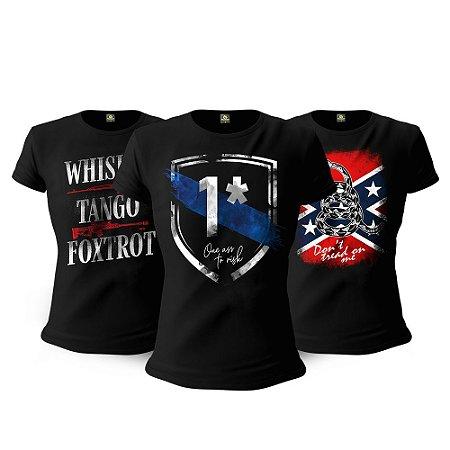 Kit 3 Camisetas Baby Look Femininas Militares One Ass To Risk Tactical Fritz Team Six