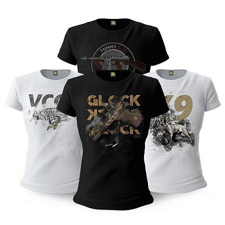 Kit 4 Camisetas Baby Look Femininas Militares Vintage Gun Tactical Fritz Team Six