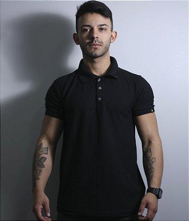 Camiseta Gola Polo Masculina Lisa Preta Team Six