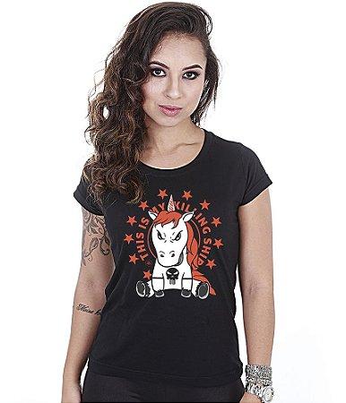 Camiseta Militar Babylook Feminina Funny Killing Shirt Team Six