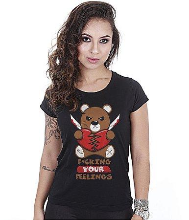 Camiseta Militar Babylook Feminina Funny Fuck Your Feelings Team Six