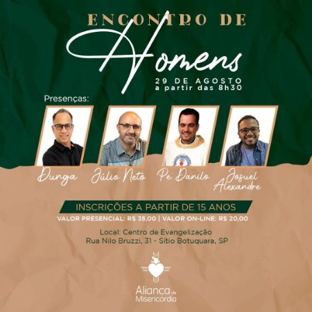 Encontro de Homens - 29/08/21 (on-line)