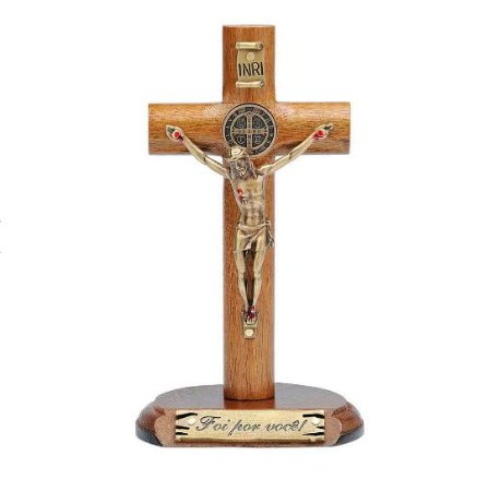 Crucifixo de Mesa Cilíndrica com São Bento 12cm