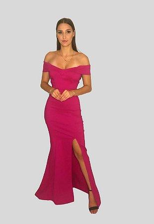 Vestido Longo Sereia com Fenda Yasmim Pink