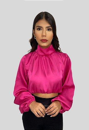 Camisa de Cetim Sophia Pink