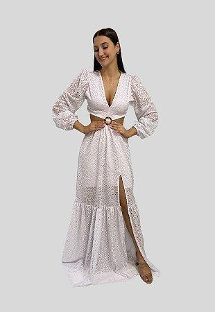 Vestido Longo de Renda Branco Morgana