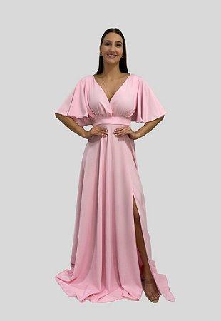 Vestido Longo de Festa Luisa Nana Marie Rosa Claro
