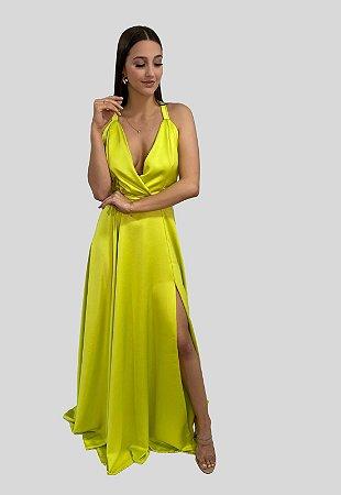 Vestido Longo com Fluidez Verde Lima