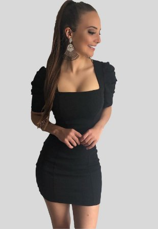 Vestido Curto Preto com Mangas Letícia