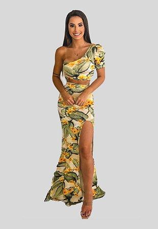 Conjunto cropped saia nude