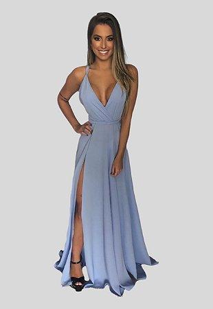 Vestido longo fluido azul serenety