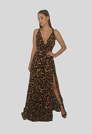 Vestido Longo com Fenda Fluido Onça