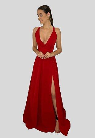 Vestido Longo Fluido Charlote Vermelho