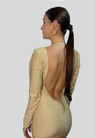 Vestido Dourado Manga Longa Cavado