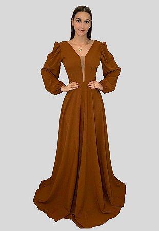 Vestido Longo com Fluidez Suzane Terracota