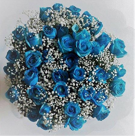 Buquê de 36 Rosas Azuis