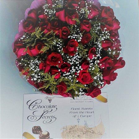 Bouquet de Rosas com 36 unds + Ferrero Rocher  ( 8 und ) ou Chocolate Importado