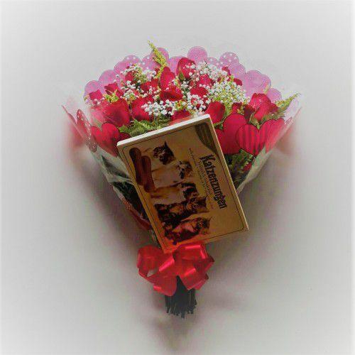Bouquet de Rosas Vermelhas com 24 unds  + Ferrero Rocher ou Chocolate Importado