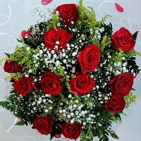 Bouquet de Rosas Vermelhas ou Coloridas com 12 unds.
