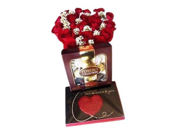 Cachepot de Rosas + Ferrero Rocher  ( 8 und ) ou Chocolate Importado