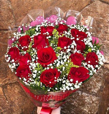 Buquê de Rosas Vermelhas ou Coloridas com 15 unds.