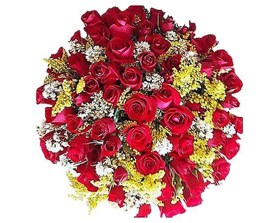 Buquê de 50 Rosas Coloridas ou Vermelhas