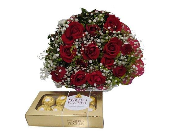 Buquê 12 Rosas Vermelhas ou Coloridas com Ferrero Rocher 8 unidades ou Chocolate Importado