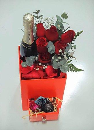 Rosas Vermelhas no Box com Espumante Baby