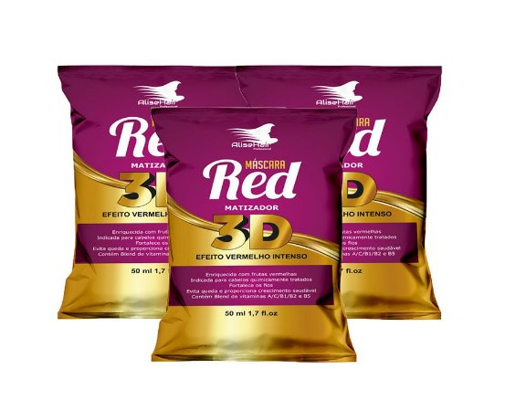 Matizador Red 3D Alise Hair Vermelho intenso - Kit 3 Sachês 50ml
