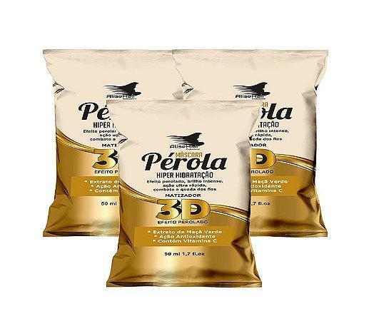 Matizador Pérola 3D Alise Hair Efeito Perolado - Kit 3 Sachês 50ml