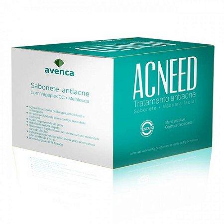 Máscara Facial Antiacne Acneed Avenca Cosméticos Kit 25 Sachê 2X10g