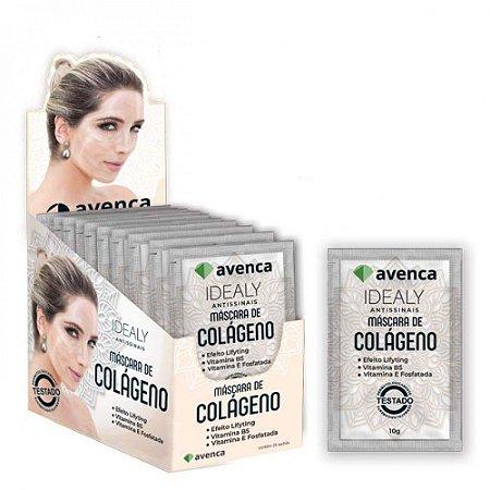 Máscara Facial de Colágeno Idealy Avenca Cosméticos Kit 24 Sachês 10g