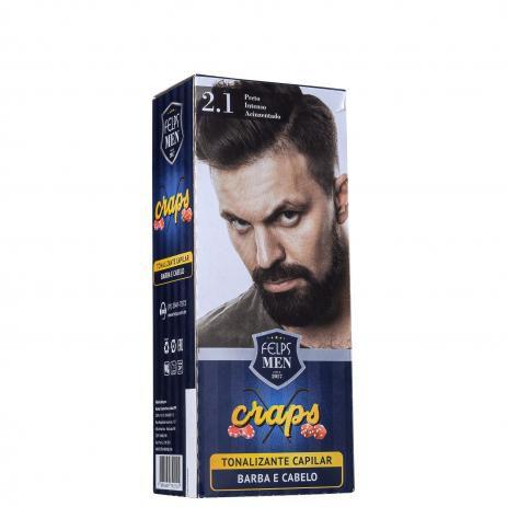 Tonalizante Capilar barba e Cabelo 2.1 Preto Intenso Acinzentado Craps Felps Men 40ml