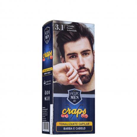 Tonalizante Capilar barba e Cabelo 3.1 Catanho Escuro Acinzentado Craps Felps Men 40ml