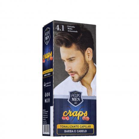 Tonalizante Capilar barba e Cabelo 4.1 Catanho Médio Acinzentado Craps Felps Men 40ml