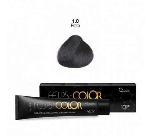 Coloração em Creme Permanente Preto 1.0 Felps Color Professional 60g