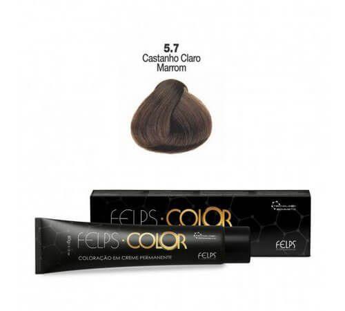 Coloração em Creme Permanente Castanho Claro Marrom 5.7 Felps Color Professional 60g