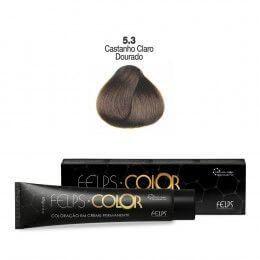 Coloração em Creme Permanente Castanho Claro Dourado 5.3 Felps Color Professional 60g