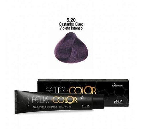 Coloração em Creme Permanente Castanho Claro Violeta Intenso 5.20 Felps Color Professional 60g