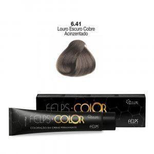Coloração em Creme Permanente Louro Escuro Cinza Cobre Acizentado 6.41 Felps Color Professional 60g