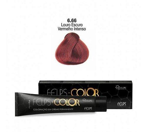 Coloração em Creme Permanente Louro Escuro Vermelho Intenso 6.66 Felps Color Professional 60g