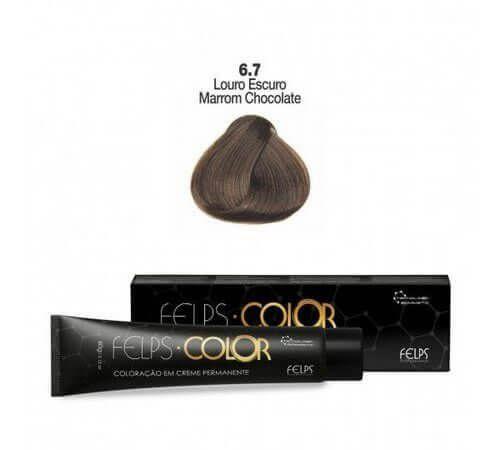 Coloração em Creme Permanente Louro Escuro Marrom Chocolate 6.7 Felps Color Professional 60g