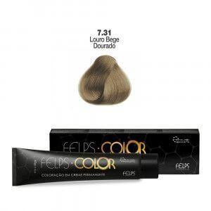 Coloração em Creme Permanente Louro Bege Dourado 7.31 Felps Color Professional 60g