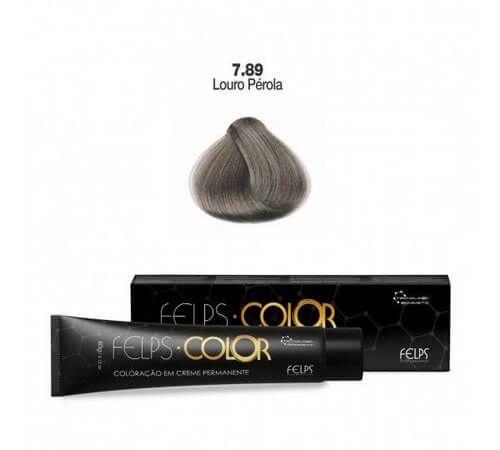 Coloração em Creme Permanente Louro Pérola 7.89 Felps Color Professional 60g