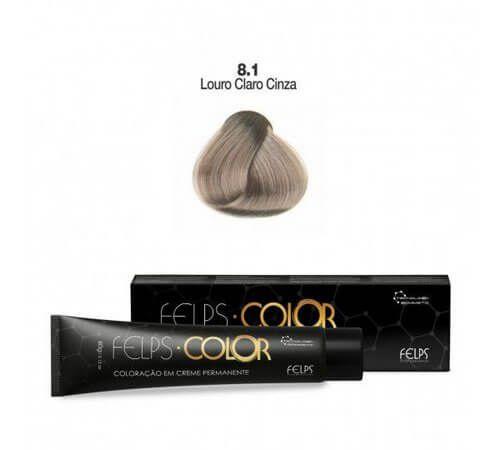 Coloração em Creme Permanente Louro Claro Cinza 8.1 Felps Color Professional 60g