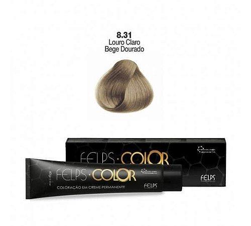 Coloração em Creme Permanente Louro Claro Bege Dourado 8.31 Felps Color Professional 60g