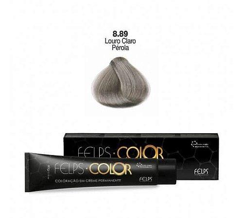 Coloração em Creme Permanente Louro Claro Pèrola 8.89 Felps Color Professional 60g